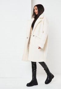 MISSGUIDED white borg teddy zip pocket coat / textured winter coats