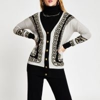 River Island White chain detail print long line cardigan | longline pattered cardigans