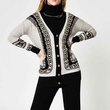 River Island White chain detail print long line cardigan   longline pattered cardigans - flipped