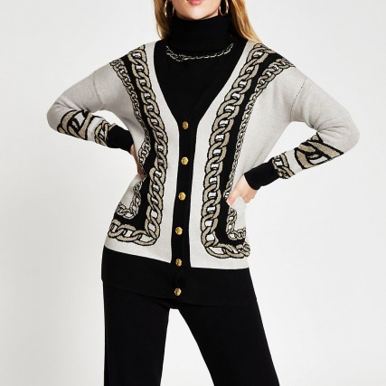 River Island White chain detail print long line cardigan   longline pattered cardigans