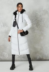 MISSGUIDED white chevron quilted maxi padded coat ~ hooded longline winter coats ~ faux fur hoods