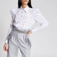 RIVER ISLAND White crochet puff sleeve shirt bodysuit | victorian style bodysuits | shirts | fashion