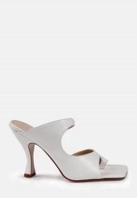 MISSGUIDED white double strap mule / square toe mules