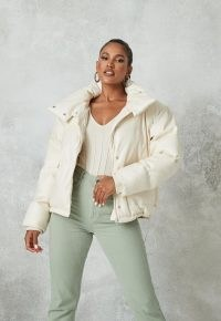 MISSGUIDED white faux leather puffer jacket ~ luxe style padded jackets