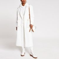 River Island White long line double breasted coat | chic longline coats for autumn / winter 2020