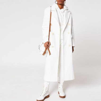River Island White long line double breasted coat   chic longline coats for autumn / winter 2020 - flipped
