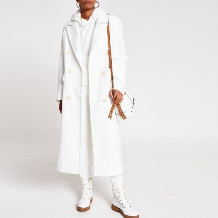 River Island White long line double breasted coat   chic longline coats for autumn / winter 2020