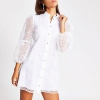 River Island White long sleeve floral organza mini dress | sheer puff sleeved dresses