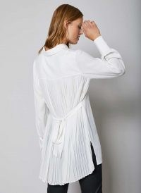 MINT VELVET White Pleated Long Shirt | back tie detail shirts