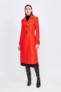 KAREN MILLEN Wool Blend Popper Detail Coat / bright orange winter coats