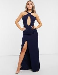 Yaura high neck halter maxi dress in navy | deep cut out neckline dresses | glamorous evening fashion