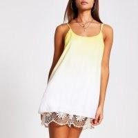 RIVER ISLAND Yellow ombre crochet mini beach dress | hem detail slip dresses | beachwear | pool fashion