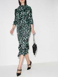 yuhan wang rose bud print ruched midi dress black / green