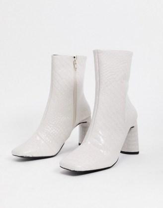 Z_Code_Z Reese vegan square toe boots in bone croc