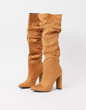 Z_Code_Z Vanda vegan slouch knee boots in tan ~ slouchy ~ brown winter footwear - flipped