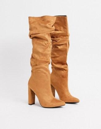 Z_Code_Z Vanda vegan slouch knee boots in tan ~ slouchy ~ brown winter footwear