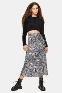 TOPSHOP Zebra Print Ruffle Maxi Skirt Monochrome / mono animal prints / ruffled skirts