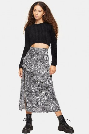 TOPSHOP Zebra Print Ruffle Maxi Skirt Monochrome / mono animal prints / ruffled skirts - flipped