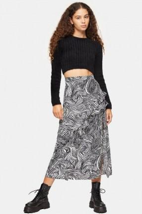 TOPSHOP Zebra Print Ruffle Maxi Skirt Monochrome / mono animal prints / ruffled skirts