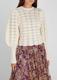 ZIMMERMANN Ladybeetle cream crochet-knit wool jumper / vintage style knitwear / jumpers with detachable high collars
