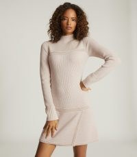 REISS ZOE KNITTED MINI DRESS BLUSH ~ beautiful knitwear ~ autumn knits ~ turtle neck dresses