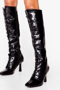 NASTY GAL A Little Tied Up Croc Knee High Boots