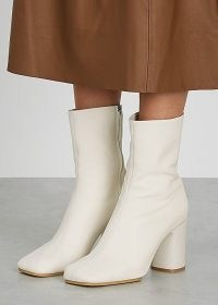 ACNE STUDIOS 85 ecru leather ankle boots ~ square toe block heel boots