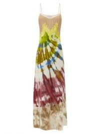 GABRIELA HEARST Adolphine lace-trimmed tie-dye flannel maxi dress / multicoloured skinny strap dresses