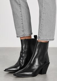 AEYDE Kate 80 black leather ankle boots ~ western style footwear