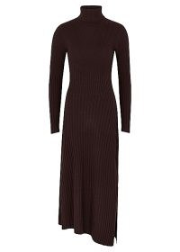 A.L.C. Emmy dark brown rib-knit jumper dress ~ asymmetric hemline dresses