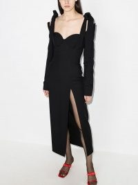 Aleksandre Akhalkatsishvili tie-shoulder cut-out midi dress | thigh high split evening dresses