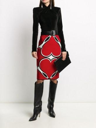 Alexander McQueen red intarsia knit skirt   designer skirts - flipped