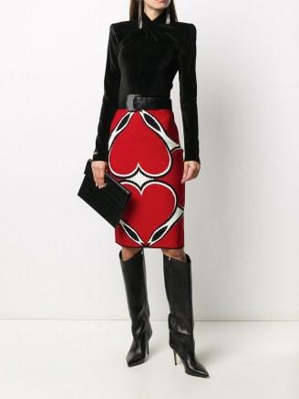 Alexander McQueen red intarsia knit skirt   designer skirts
