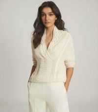 REISS ALI CABLE KNIT JUMPER CREAM / neutral shawl neckline jumpers