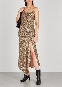 ALICE + OLIVIA Harmony leopard-print satin maxi dress – animal prints