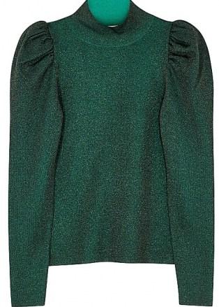 ALICE + OLIVIA Issa green metallic-weave wool-blend jumper / evening knitwear - flipped