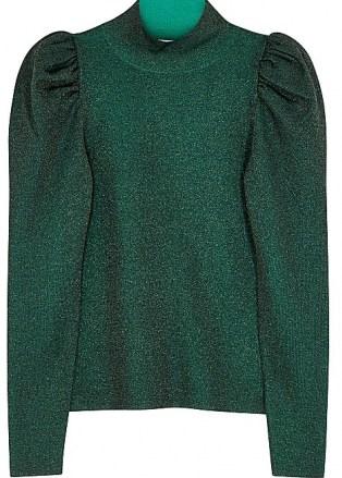 ALICE + OLIVIA Issa green metallic-weave wool-blend jumper / evening knitwear