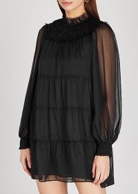 ALICE + OLIVIA Kellyann black tiered silk-chiffon mini dress – lbd – sheer sleeve evening dresses