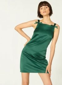 L.K. BENNETT AMALFI GREEN DRESS / satin party dresses