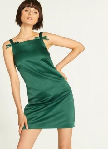 L.K. BENNETT AMALFI GREEN DRESS / satin party dresses - flipped