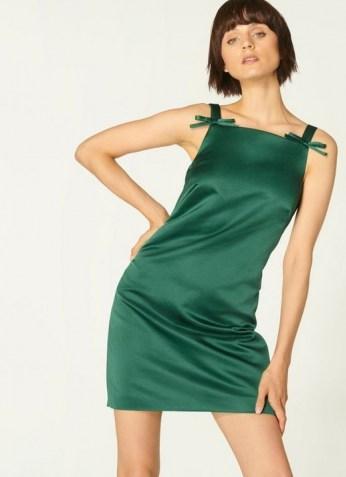 L.K. BENNETT AMALFI GREEN DRESS / satin party dresses