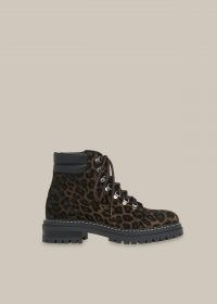 WHISTLES AMBER LEOPARD LACE UP BOOT / animal print combat boots