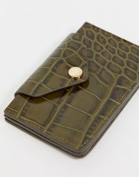 & Other Stories leather card holder in khaki croc ~ green card holders ~ crocodile effect accessories