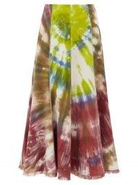 GABRIELA HEARST Amy fringed tie-dye flannel midi skirt | multicoloured skirts