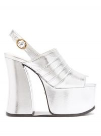 GUCCI Anais open-toe metallic-leather platform shoes / retro evening platforms / chunky silver vintage look slingbacks