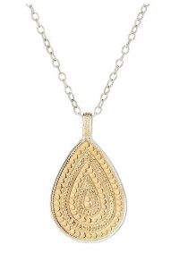 ANNA BECK MEDIUM BEADED TEARDROP NECKLACE – GOLD & SILVER / boho pendants / bohemian necklaces / jewellery
