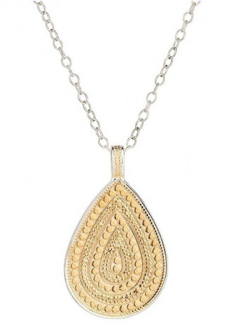 ANNA BECK MEDIUM BEADED TEARDROP NECKLACE – GOLD & SILVER / boho pendants / bohemian necklaces / jewellery - flipped