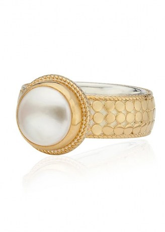 ANNA BECK REIMAGINED PEARL COCKTAIL RING – GOLD / boho jewellery / bohemian statement rings - flipped