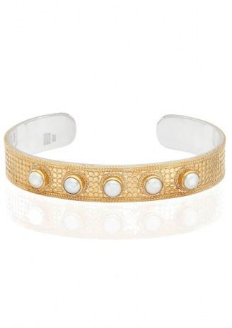 ANNA BECK REIMAGINED PEARL LARGE CUFF – GOLD / boho jewellery / bohemian cuffs - flipped