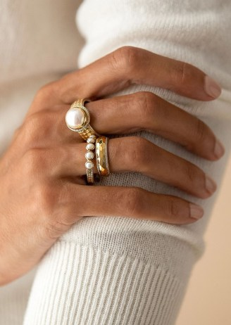 ANNA BECK REIMAGINED PEARL MULTI STONE RING – GOLD / boho rings / pearls / bohemian jewellery - flipped